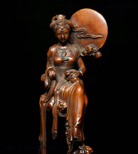 "7/"" Chinese Collection Boxwood wood Moon beautiful woman goddess Chang/'e Statue"