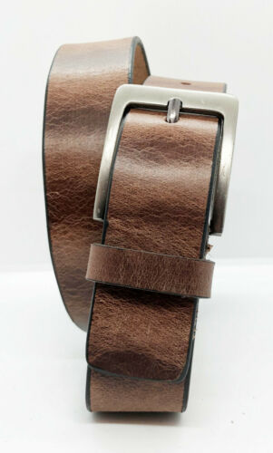 """BROWN FULL GRAIN Buffalo Leather Mens 1.5/"""" Belt Strap Buckle Casual Jeans"""