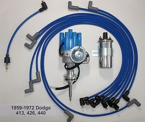 Details about 440 DODGE 59-72 BLUE Small Female HEI Distributor + Spark  Plug Wires+Chrome Coil