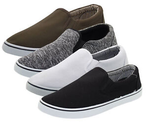 Mens-Slip-On-Canvas-Shoes-Comfortable-Casual-Deck-Plimsoll-Slider-Pumps-Trainer
