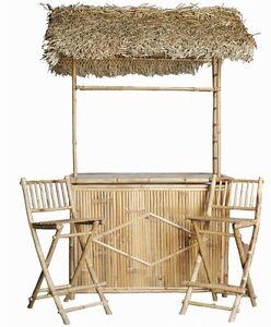 Image Is Loading Tiki Bar Patio Set 3 Pc Bamboo Thatch