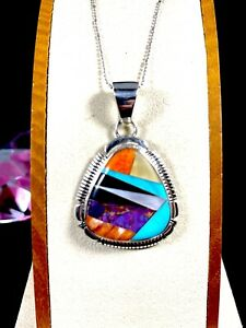 SIGNED MN STERLING SILVER INLAY STONE NAVAJO PENDANT & 925 ITALY CHAIN NECKLACE