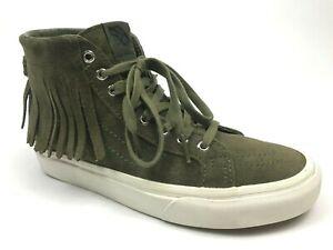 Vans-Sk8-Hi-Womens-Moc-Sneakers-Native-Tassels-Suede-Leather-Shoes-Green-Sz-7