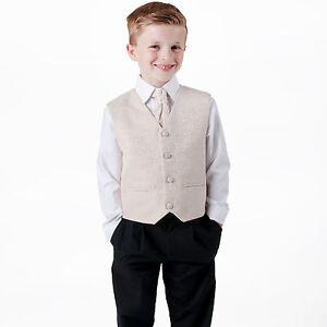RAGAZZI suits 4 Pezzi Champagne Gilet Suit Swirl Pageboy Party Formale Matrimonio  </span>