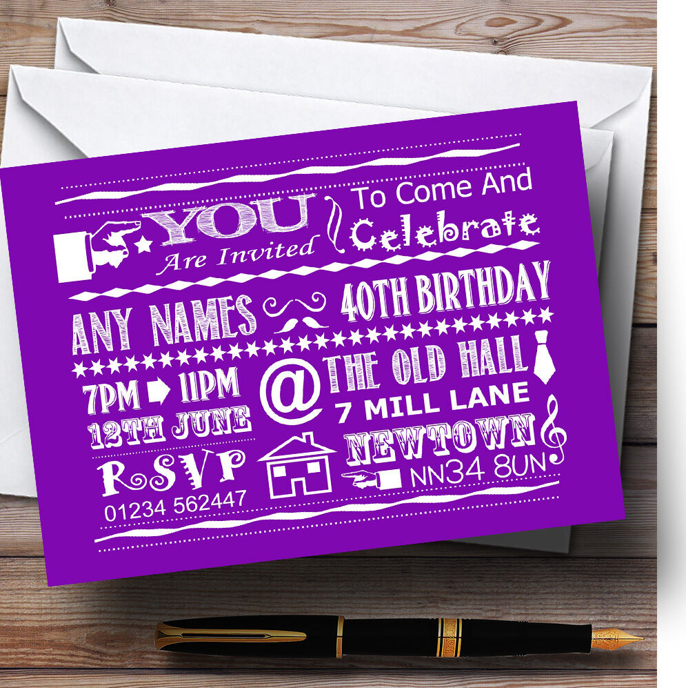 Cool Vintage Fun Chalk Typography lila Personalised Birthday Party Invitations