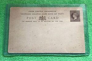 leeward islands stamp postcard penny halfpenny union postale