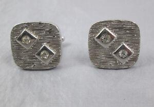 Vintage cufflinks modernist square silver-tone metal with rhinestones