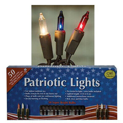 50 Count Light Set String Patriotic Red White Blue