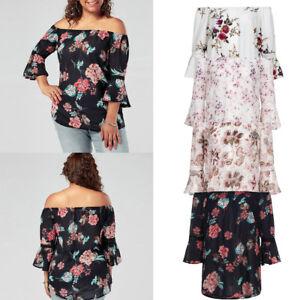 f1839b8c309d Plus Size Women Floral Print Lace Off Shoulder Flare Sleeve T-Shirt ...