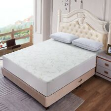 Waterproof Bamboo Quilted Mattress Pad Protector Hypoallergenic Fitted Bed Cover