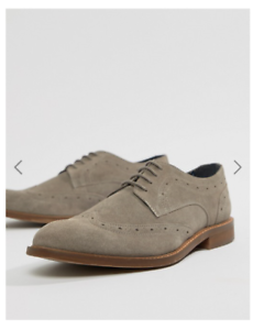 MENS DUNE GREY LEATHER SUEDE BROGUES WIDE SHOES RRP-