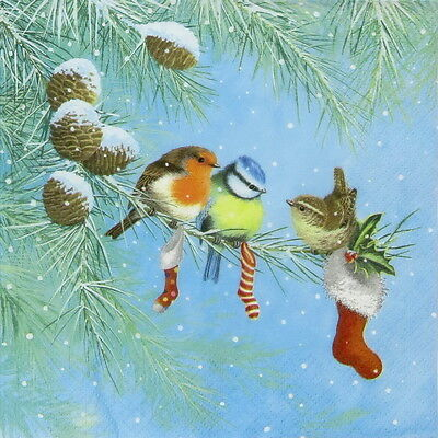 4x Paper Napkins for Decoupage Craft Three Birds on Branch