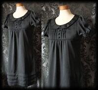 Gothic Black Button Peter Pan Collar LIFE OF SHADOWS Tea Dress 6 8 Victorian