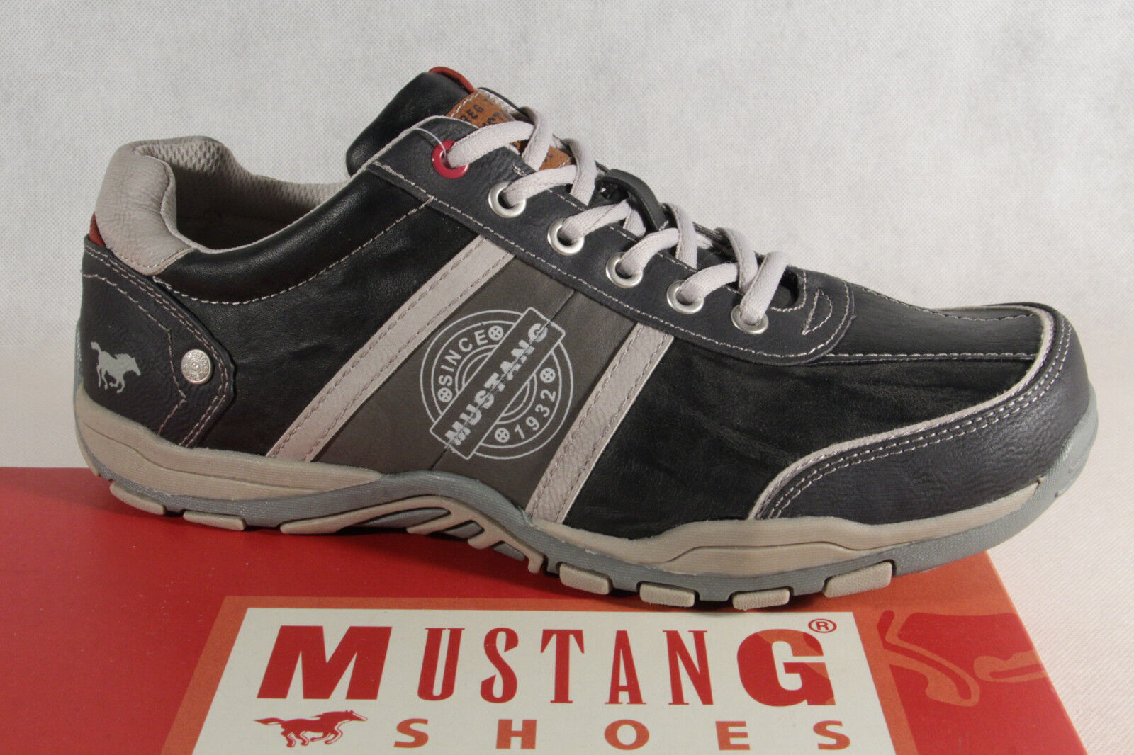 Mustang Men's Lace-Up shoes Lace up Sneakers Trainers Low 4027 Stone Grey New