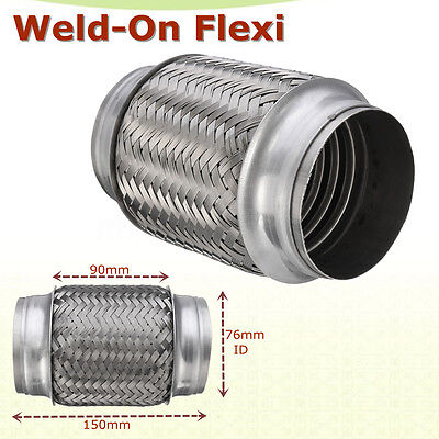"Car Auto Exhaust Flex Pipe Stainless Steel Double Braid 2/"" x 6/"" w// Ends 10/"""