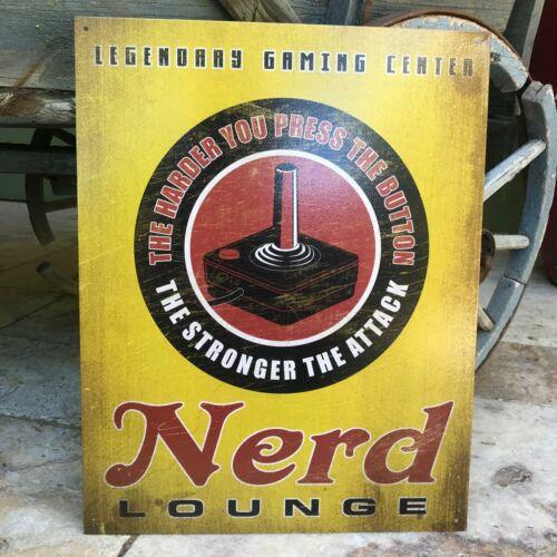 "Vintage Look /""Nerd Lounge Legendary Gaming Center/"" Metal Sign Tin Tacker"