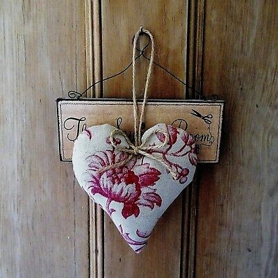 Laura Ashley Heligan fabric vintage style heart door hanger gift shabby chic