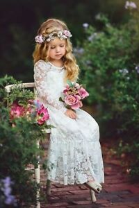 Green Long Lace Flower Girl Dress Birthday Wedding Christmas Boho Ellura Sage