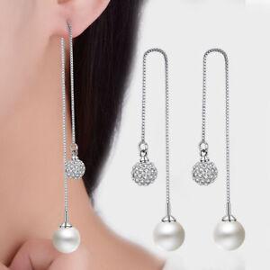 Hot-925-Sterling-Silver-Zircon-Beads-Pearl-Long-Tassel-Ear-Stud-Drop-Earrings