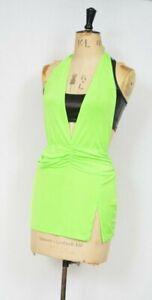 Neon-Green-Mini-Dress-S-M-Leg-Avenue-Slinky-Low