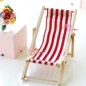 1 12 dollhouse miniature foldable red white beach chair for Beach chaise longue