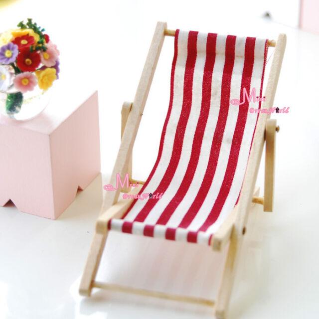1/12 Dollhouse Miniature Foldable Red White Beach Chair Chaise Longue