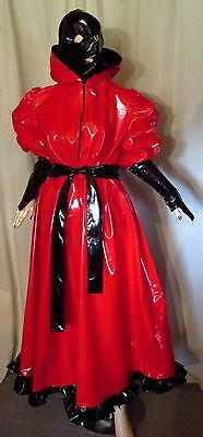 Diplomatico Abito Vernice Con Maschera Cappuccio Lang Lontano Orlo Volant Schnürgürtel Vinile Dress Mask-mostra Il Titolo Originale