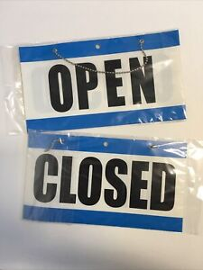 """Lot Open Closed Sign With Hanging Chain Large 10.75"""" x 6"""" Business Store"""