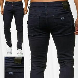 Jaylvis-Herren-Jeans-Slim-Fit-Hose-Denim-Stretch-Pants-Indigo-Tapered-Leg-Dunkel