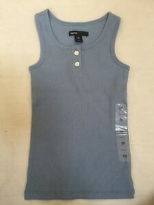 6b1dffe4c825c8 Details about Girls GAP KIDS XS 4 5 Medium Blue Ribbed Tank Top Shirt NEW  NWT 2 Button