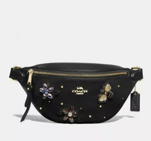 New COACH Gemstone Pebble Leather Belt Bag Fanny Pack F72831 Floral Bee Patch