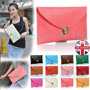 Woman-Lady-Envelope-Clutch-Chain-Purse-Handbag-Tote-Shoulder-Handbag-UK-Seller