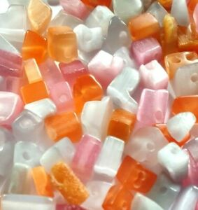 Cats-Eye-Crystal-Chip-Beads-Orange-Pink-Grey-Loose-Beads-Jewellery-Making-140g