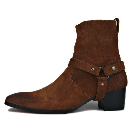 Handmade Uomo marrone Side zipper biker fashion boots, Uomo suede ankle boots