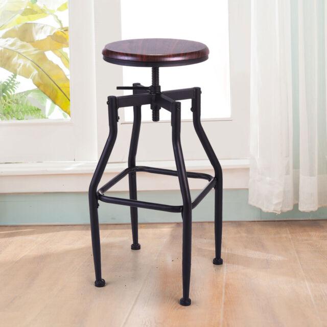 Pleasing New Vintage Bar Stool Metal Design Wood Top Height Adjustable Swivel Industrial Bralicious Painted Fabric Chair Ideas Braliciousco