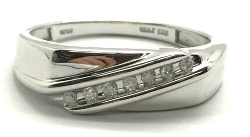 Men/'s Sterling Silver 925 Diagonal Channel Set Diamond Rectangular Ring Size 10