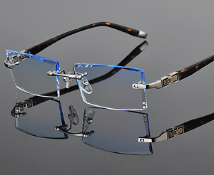 5b53b64e50 Image is loading Luxury-Eyeglass-Frames-Rimless-Eyewear-Diamond-Cutting-lens -