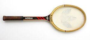Ancienne-raquette-de-tennis-en-bois-ADIDAS-ILIE-NASTASE-avec-housse-Vintage