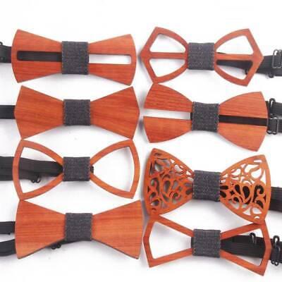 New Men/'s Wooden Bow Tie Necktie Handmade Wedding Hollow Out Neckwear Accessory