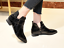 Womens-Ankle-Boots-Pointy-Toe-Slip-On-Patent-Leather-Buckle-Low-Block-Heel-Size thumbnail 5