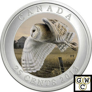 2013-039-Barn-Owl-039-Colorized-25-Cent-Coin-Oversized-13257