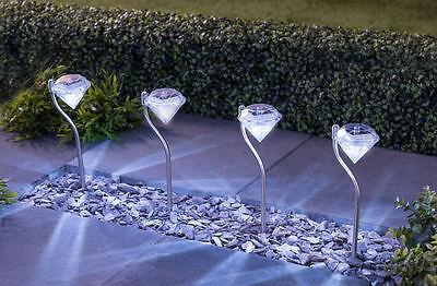 4 X Led Bianco Giardino Diamante Luci Energia Solare Border Lanterne Moderno Elevato Standard Di Qualità E Igiene