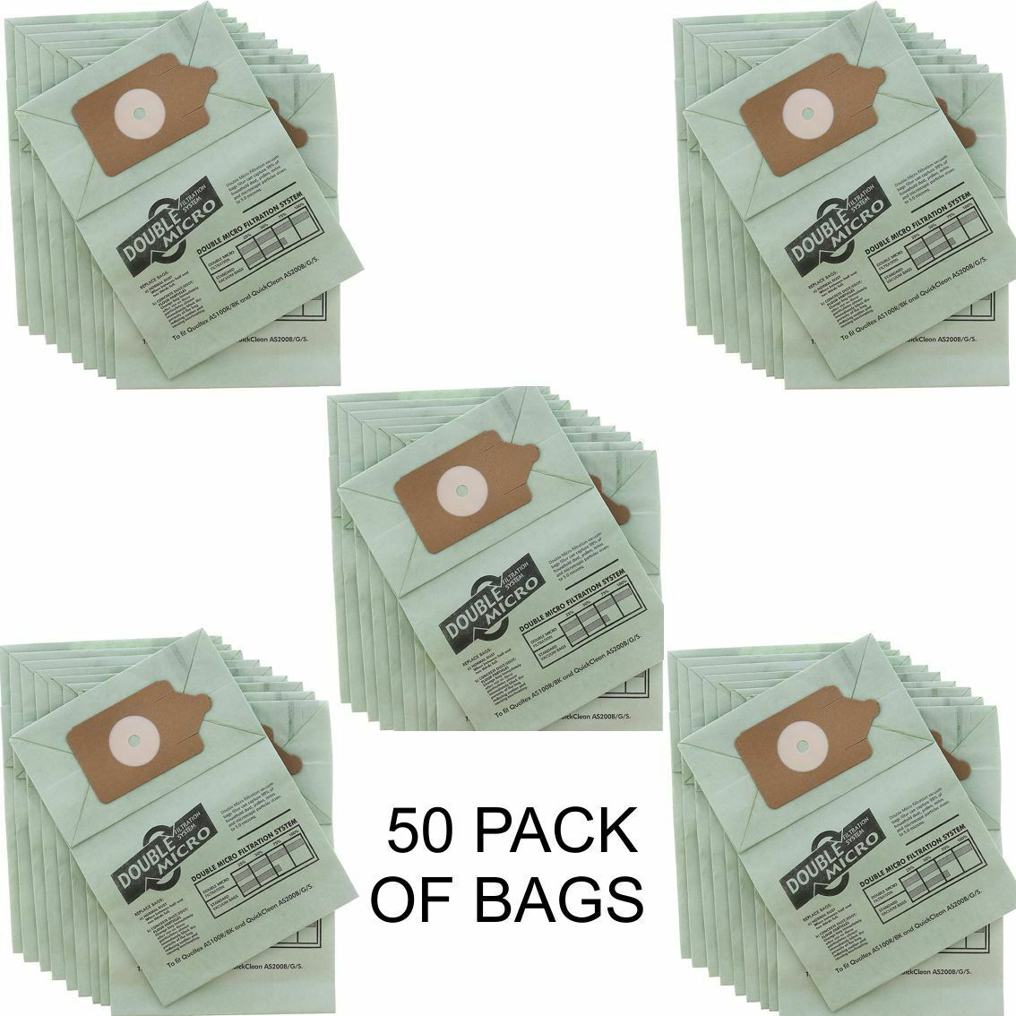 Pack of 5 Vacuum Bags Numatic Qualtex Double Micro Filtration