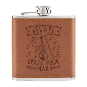 Attention-Crazy-Violon-Homme-170ml-Cuir-PU-Hip-Flasque-Fauve-Papa-Fete-des-Peres