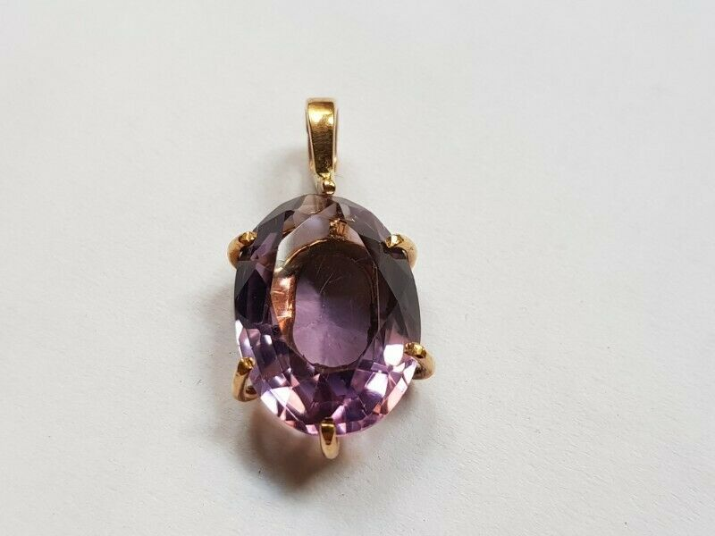 A027 9k Gold and Amethyst Pendant