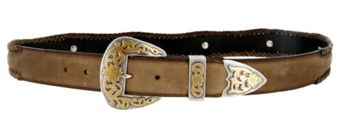 """Gold Coloma Concho Men/'s Western Leather Belt 1-1//2/"""" Wide 38mm"""