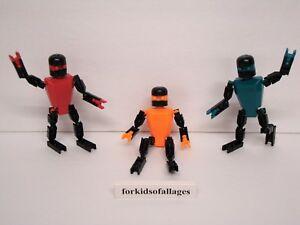 KNEX-FIGURES-LOT-3-Robot-PEOPLE-Men-Red-Orange-Teal-Parts-Pieces