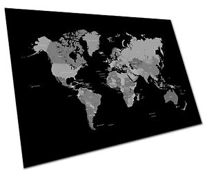 Details about Black and White world map Map of the World A2 Poster = 23.4\