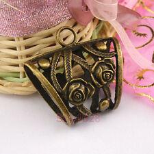 3Pcs Antiqued Bronze Hollow Rose Flower Bail Charms Pendants 37x39.5mm A4261
