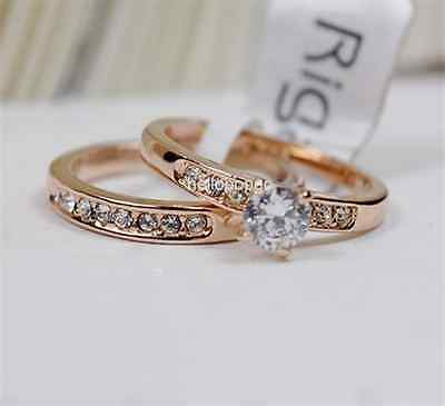 18K Rose  gold GP Austrian Crystal 2 in 1 Ring Size 6,7,8,9 Available BR1126